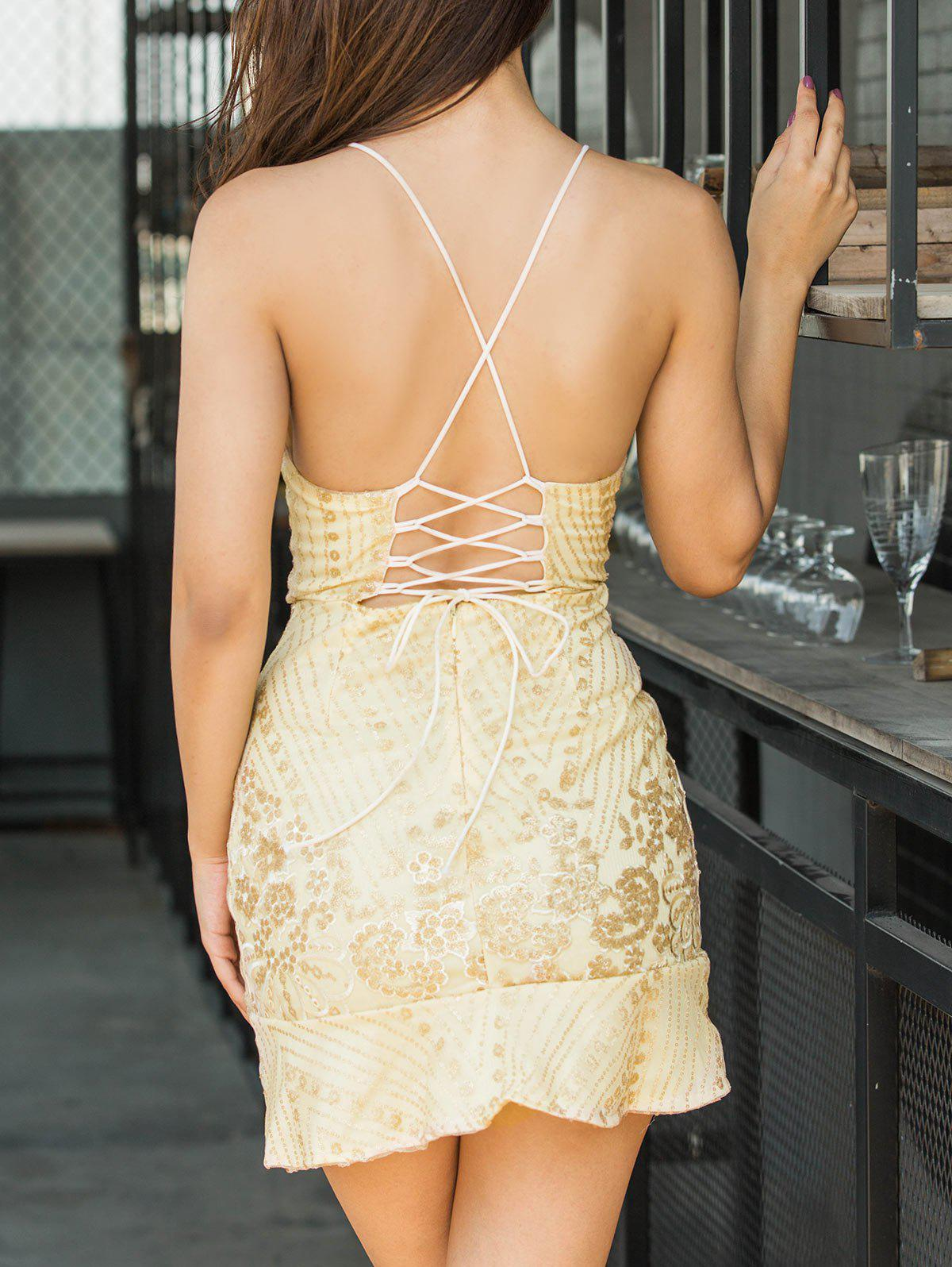 Embroidered Sequin Backless Cami Dress - GOLDEN S