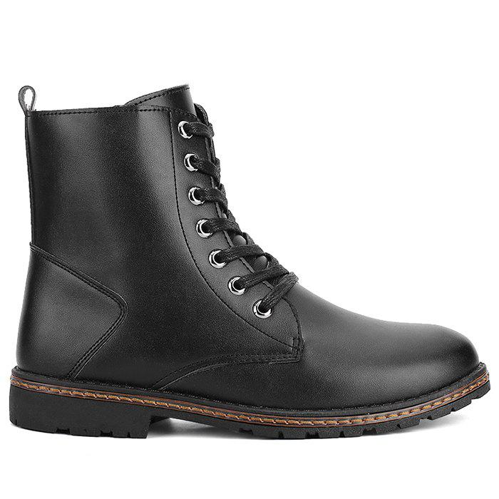 Flat Faux Leather Side Zip Ankle Boots - BLACK 41