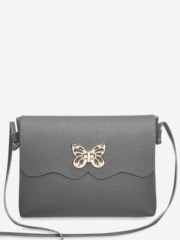Butterfly Metal Embellished Crossbody Bag - GRAY