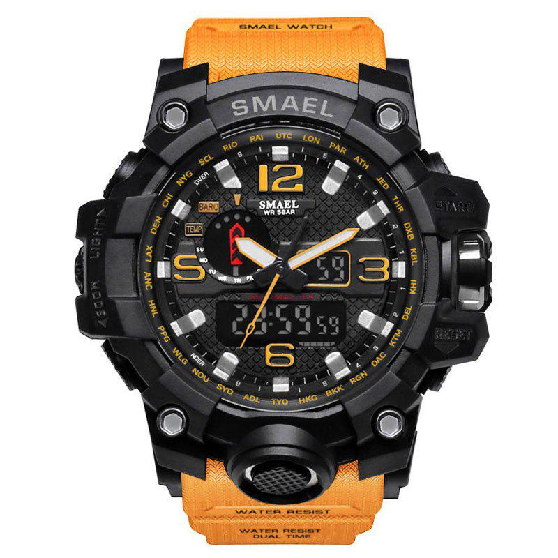 Multifuctional Quartz Digital Sport Military Watch - ORANGE