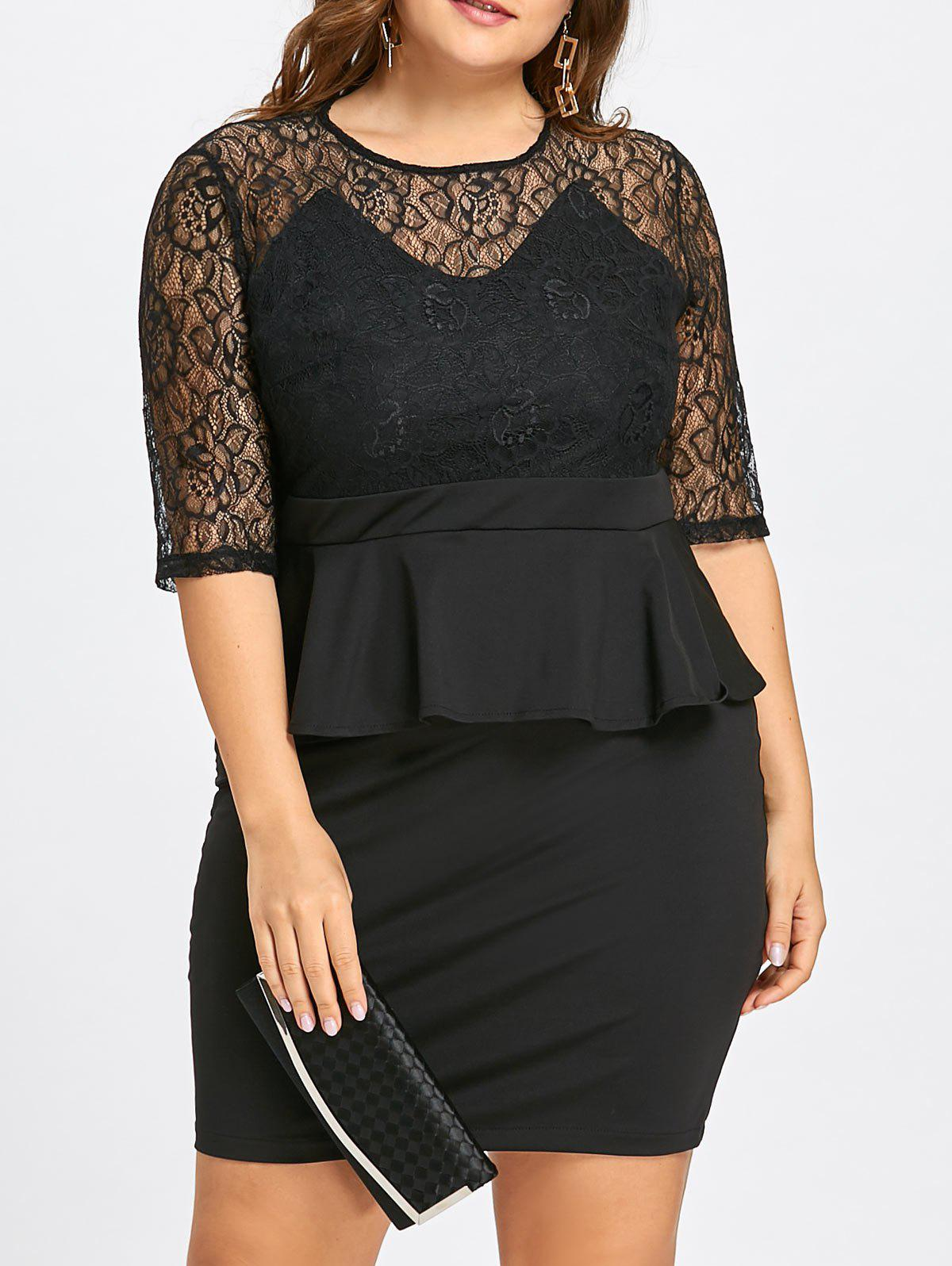 Plus Size Lace Insert Peplum Sheath Dress - BLACK 7XL