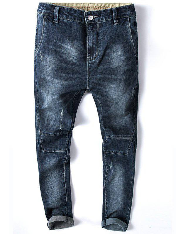 Tapered Fit Zip Fly Faded Whisker Jeans - DEEP BLUE 34
