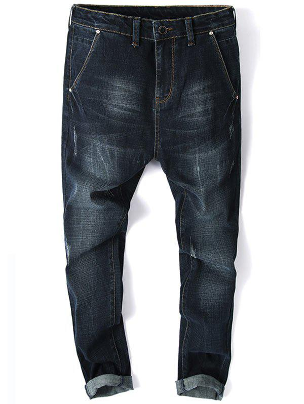 Zip Fly Whisker Design Tapered Fit Jeans - PURPLISH BLUE 38