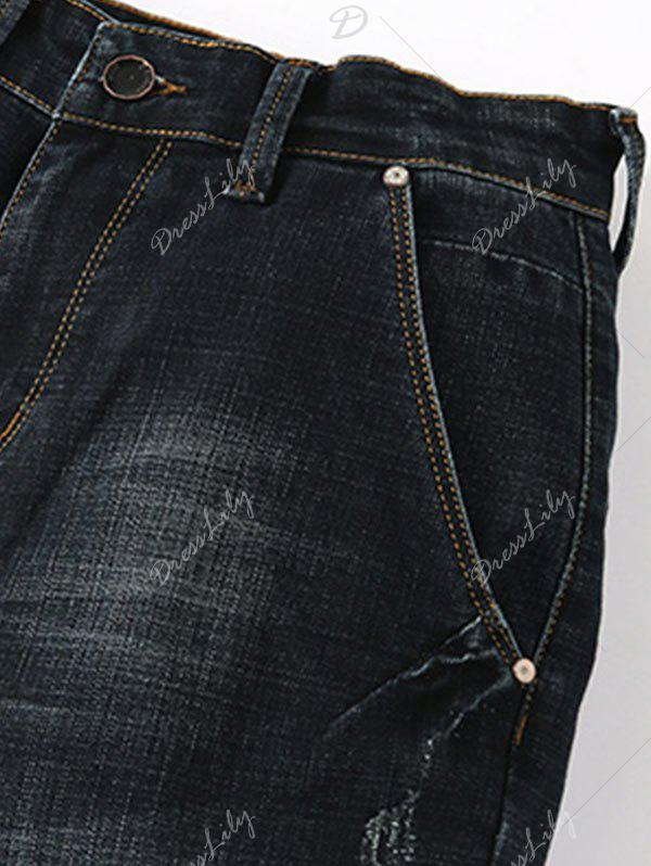 Zip Fly Whisker Design Tapered Fit Jeans - PURPLISH BLUE 40
