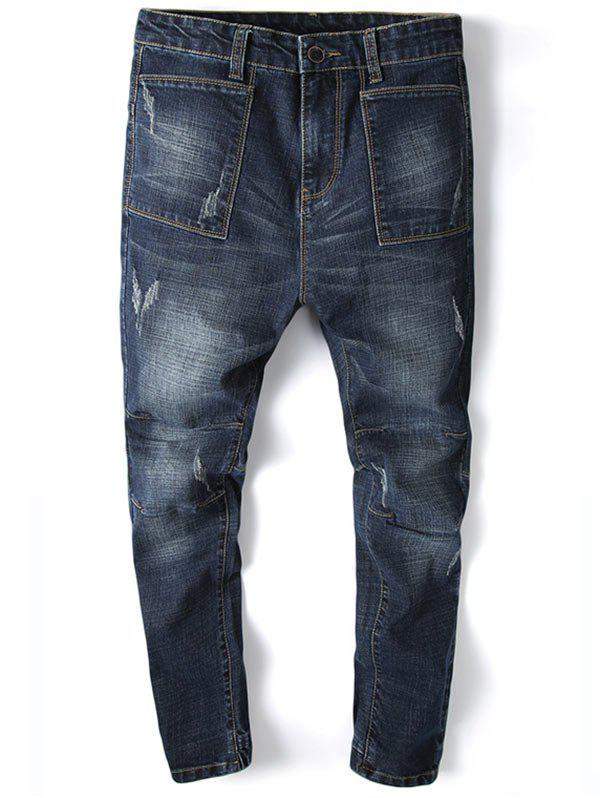 Pocket Design Beam Feet Tapered Denim Joggers - DEEP BLUE 32