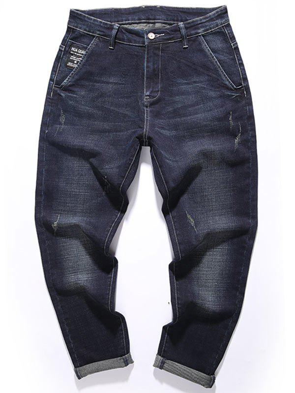 Zipper Fly Graphic Tapered Fit Jeans - DEEP BLUE 34