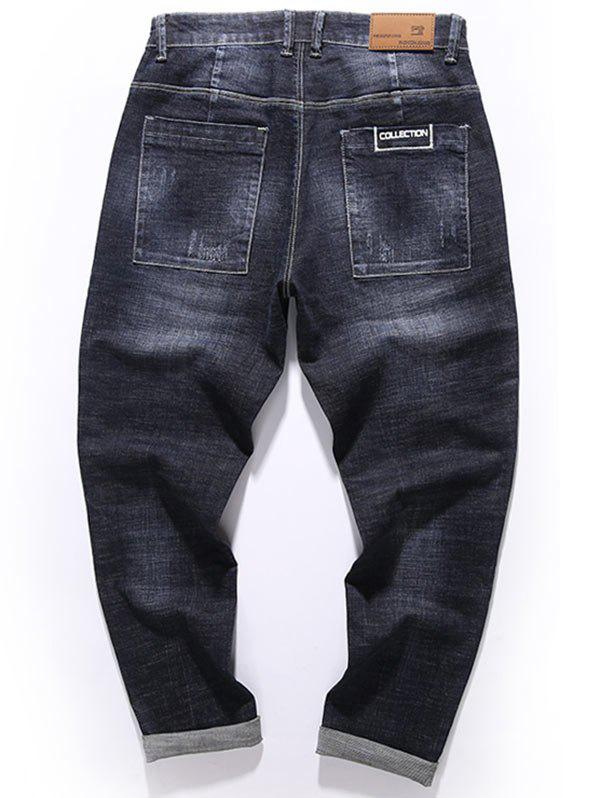 Graphic Print Zip Fly Tapered Fit Jeans - BLACK 36
