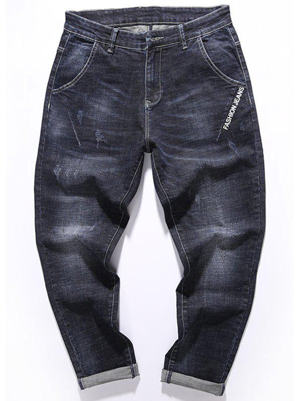 Graphic Print Zip Fly Tapered Fit Jeans - BLACK 34