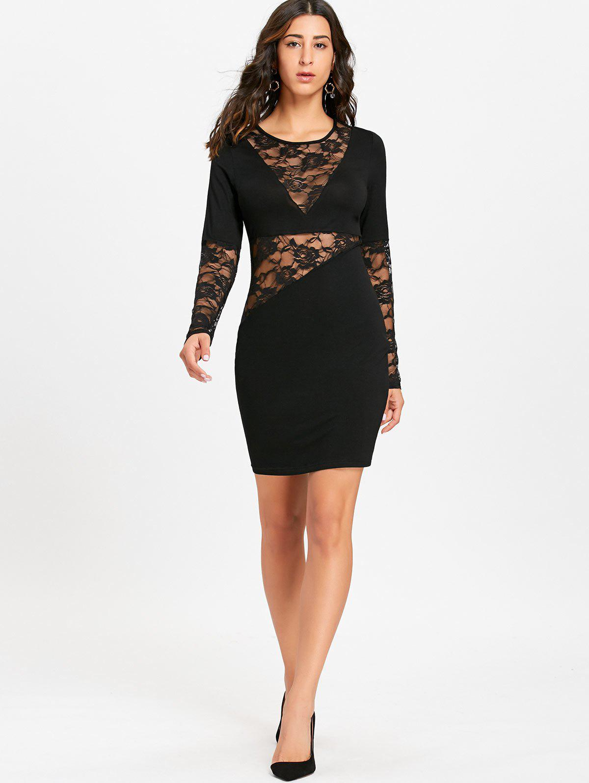 Sheer Lace Insert Long Sleeve Bodycon Dress - BLACK 2XL