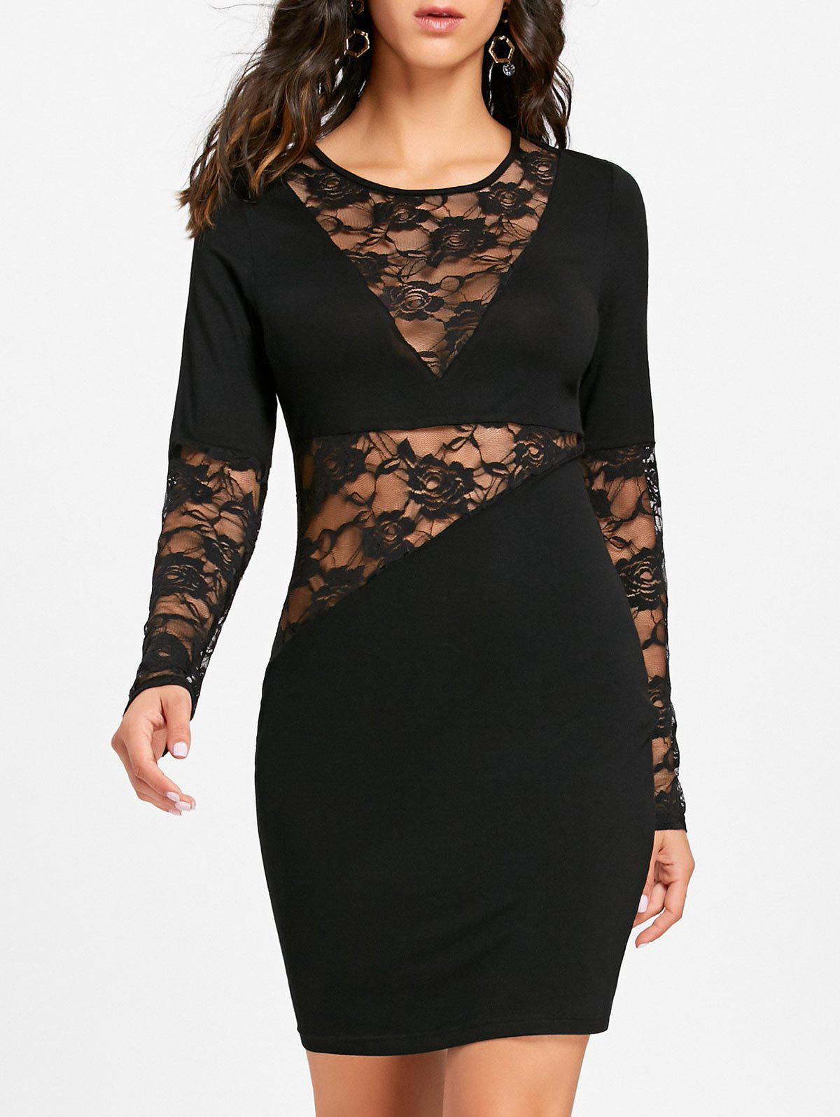 Sheer Lace Insert Long Sleeve Bodycon Dress bell sleeve lace insert mini party dress
