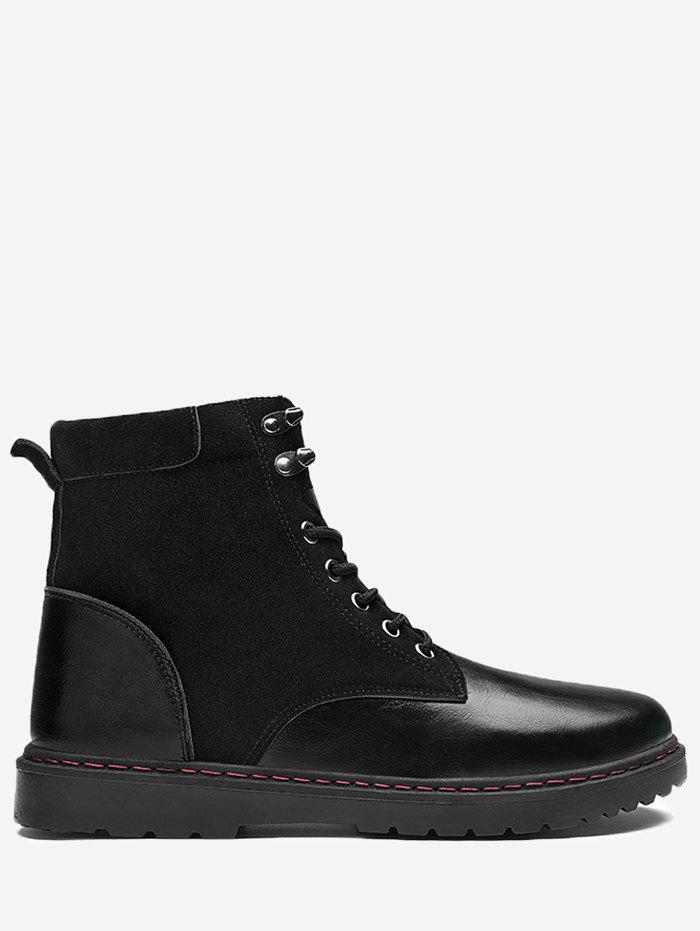 Side Zip Warm Ankle Boots - LEATHER BLACK 43