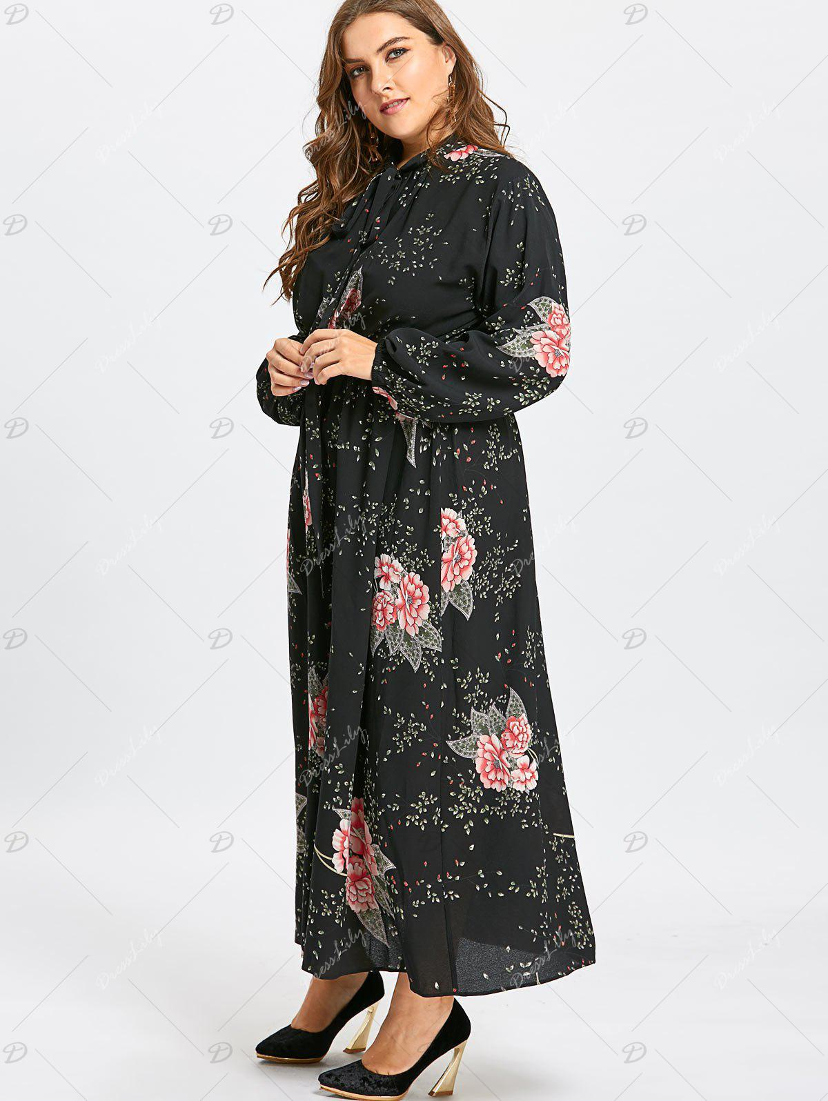 Floral Plus Size en mousseline de soie Maxi Pussy Bow Dress - Noir 4XL