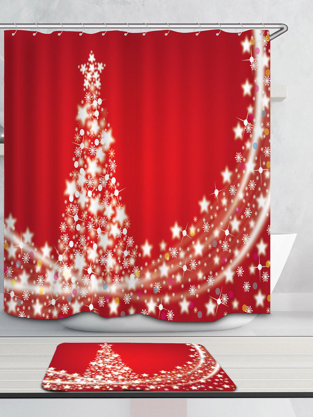 Christmas Stars Tree Pattern Waterproof Shower Curtain - RED W71 INCH * L71 INCH