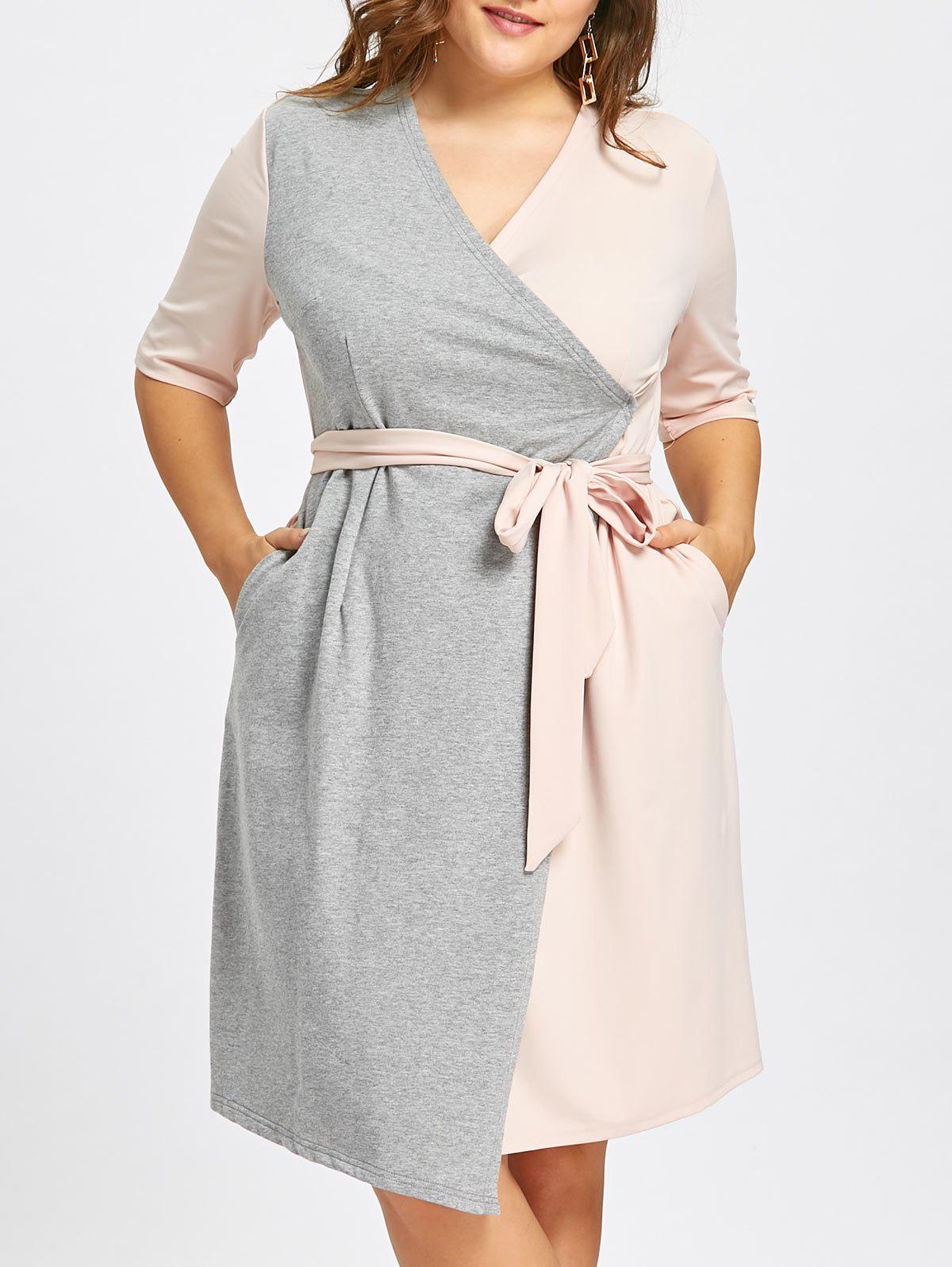 Self-tie Plus Size Two Tone Surplice Dress with Slit - PINK/GREY 7XL