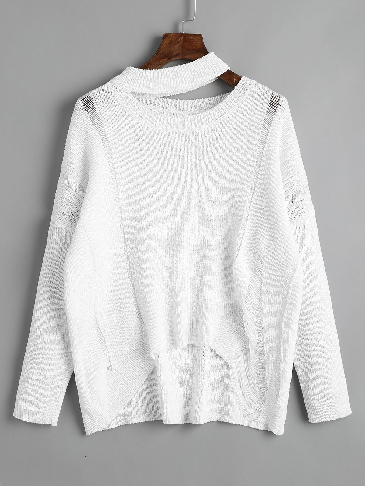 Destroyed Cutout High Low Pullover Sweater, WHITE, ONE SIZE in ...