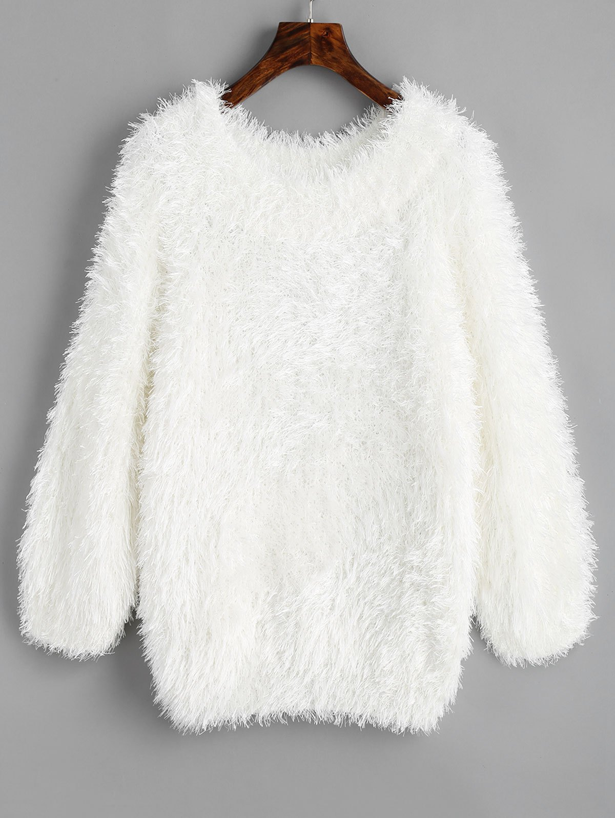 Textured Raglan Sleeve Pullover Sweater - WHITE ONE SIZE