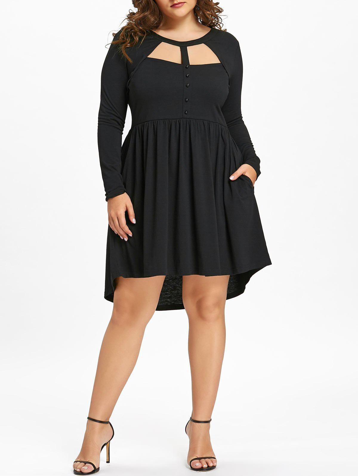 Plus Size Mesh Panel Cutout Long Sleeve Dress plus size tank dress with long mesh sheer cardigan