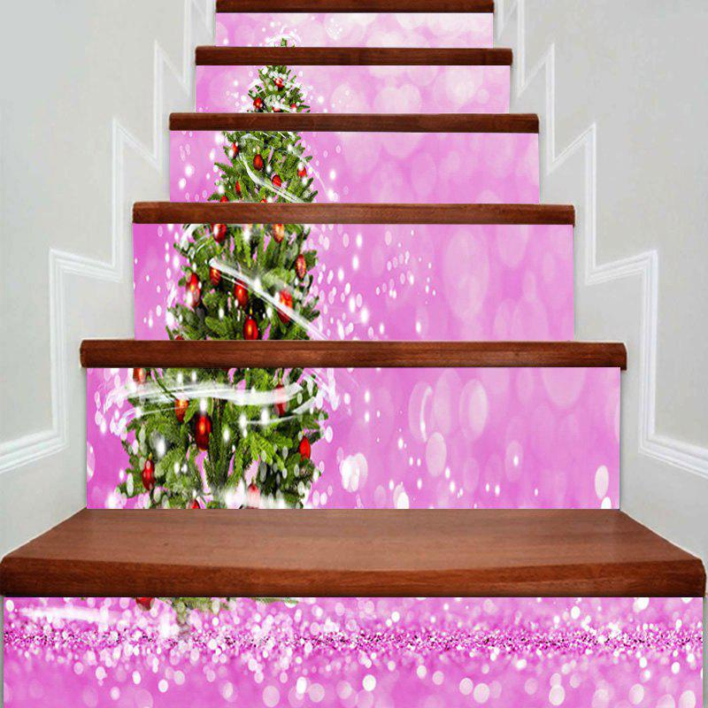 Christmas Tree Pattern Home Decor DIY Stair Stickers - PINK 100*18CM*6PCS