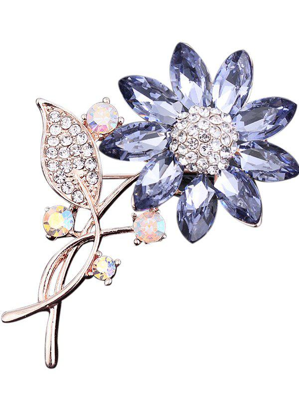 Faux cristal strass tournesol feuille broche - Pourpre