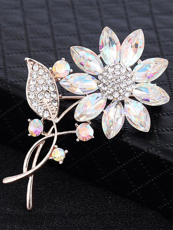 Faux Crystal Rhinestone Sunflower Leaf Brooch - WHITE
