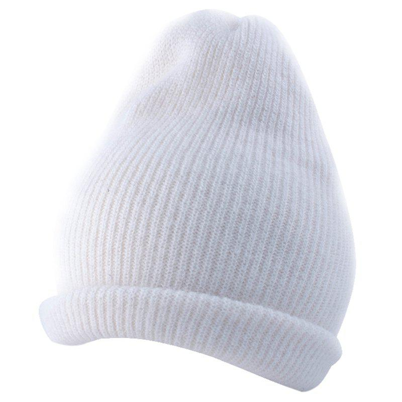 Outdoor Flanging Decorated Crochet Knitted Slouchy Beanie - WHITE