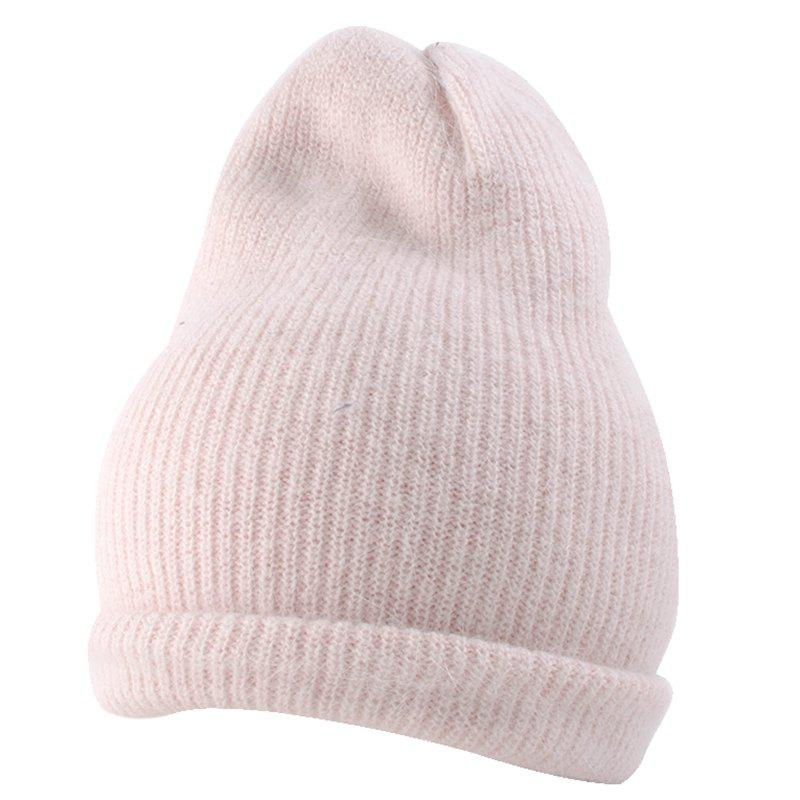 Outdoor Flanging Decorated Crochet Knitted Slouchy Beanie - LEATHER PINK