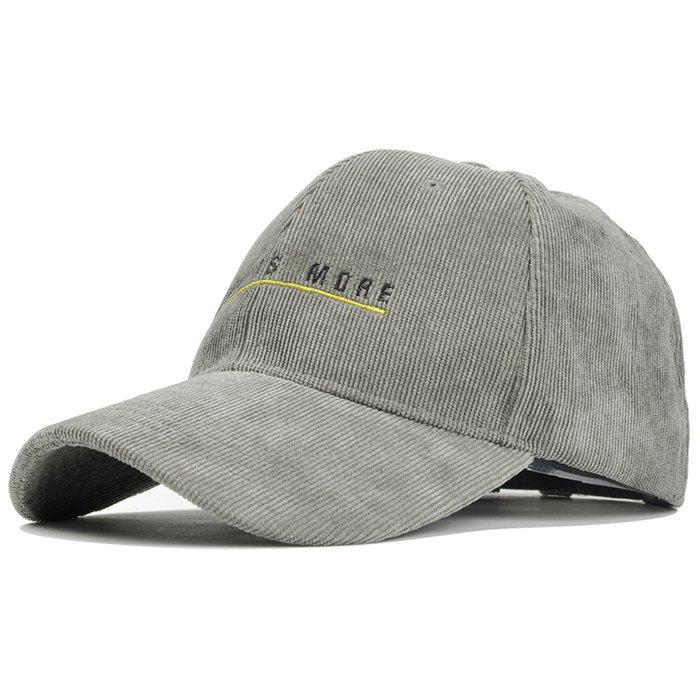 Less is More Pattern Decorated Corduroy Baseball Hat - GRAY