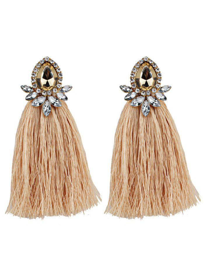 Faux Gem Rhinestone Teardrop Tassel Earrings floral rhinestone teardrop earrings