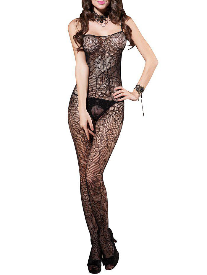 Slip Open Back Fishnet Crotchless Bodystockings - BLACK ONE SIZE