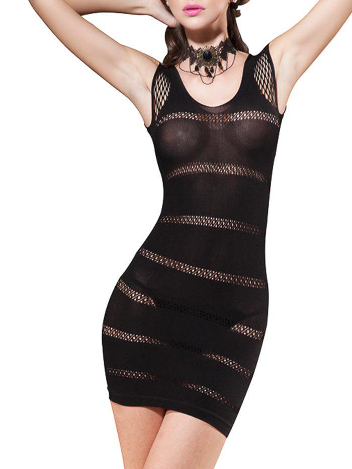 Lingerie Short Fishnet Fitted Tight Dress - BLACK ONE SIZE