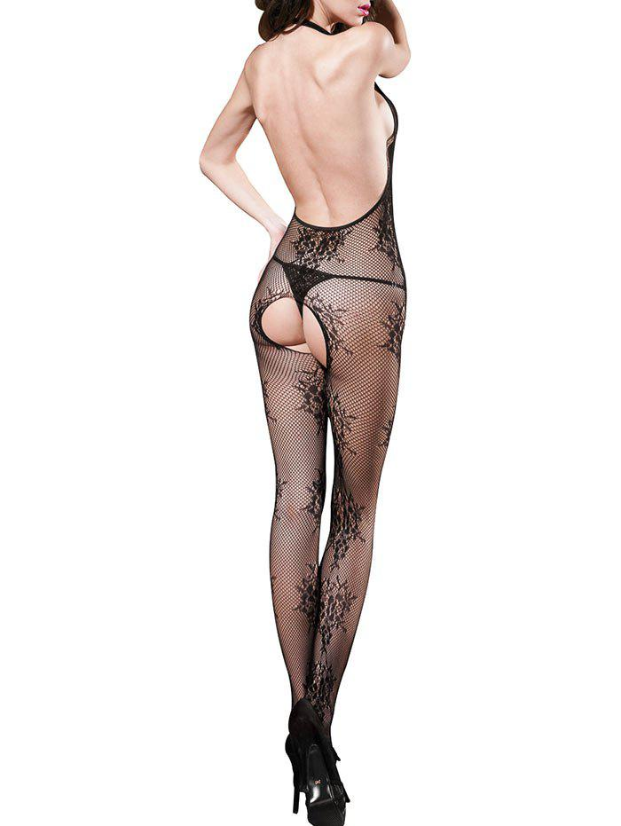 Open Crotch Fishnet Halter Low Back Bodystockings - BLACK ONE SIZE