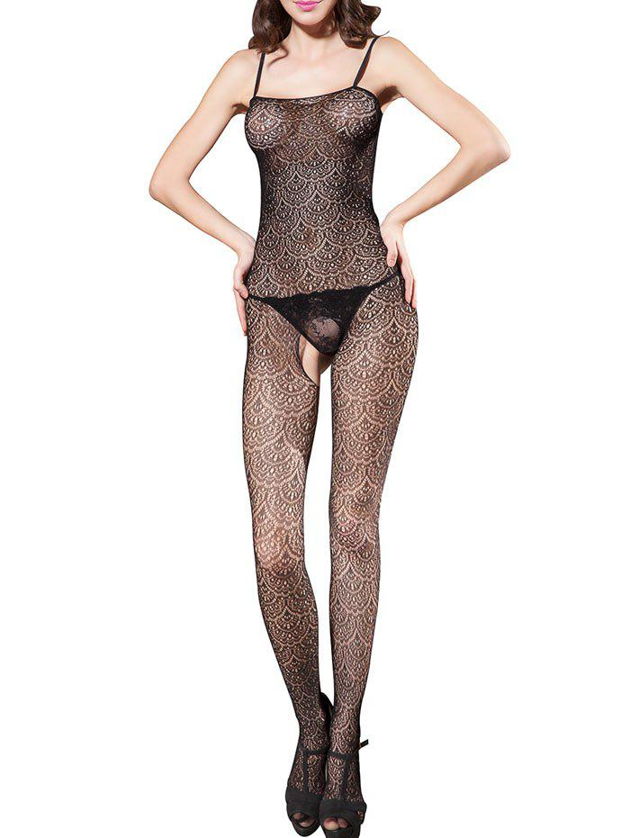 Open Crotch Slip See Through Bodystockings - BLACK ONE SIZE