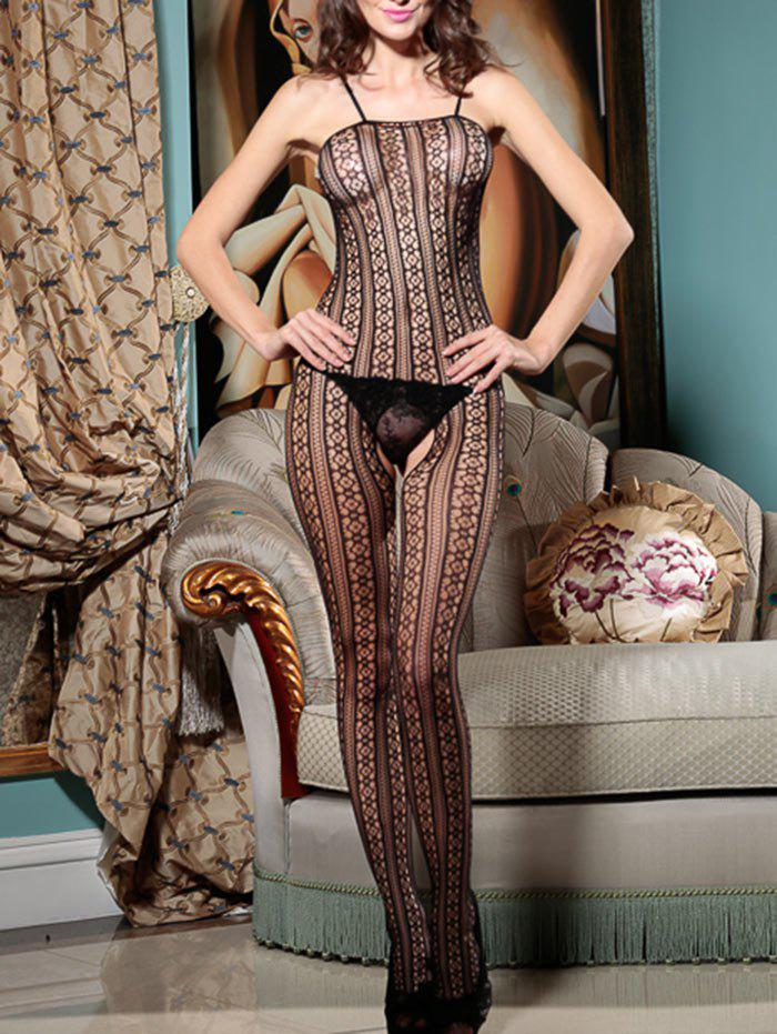 Lingerie Fishnet Cami Open Crotch Bodystockings - BLACK ONE SIZE
