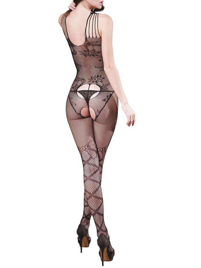 Backless Flower Graphic Fishnet Bodystockings - BLACK ONE SIZE