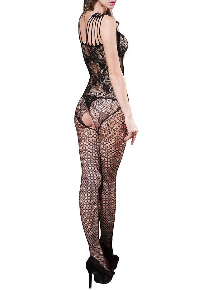 Crotchless Lingerie Fishnet Bodystockings - BLACK ONE SIZE