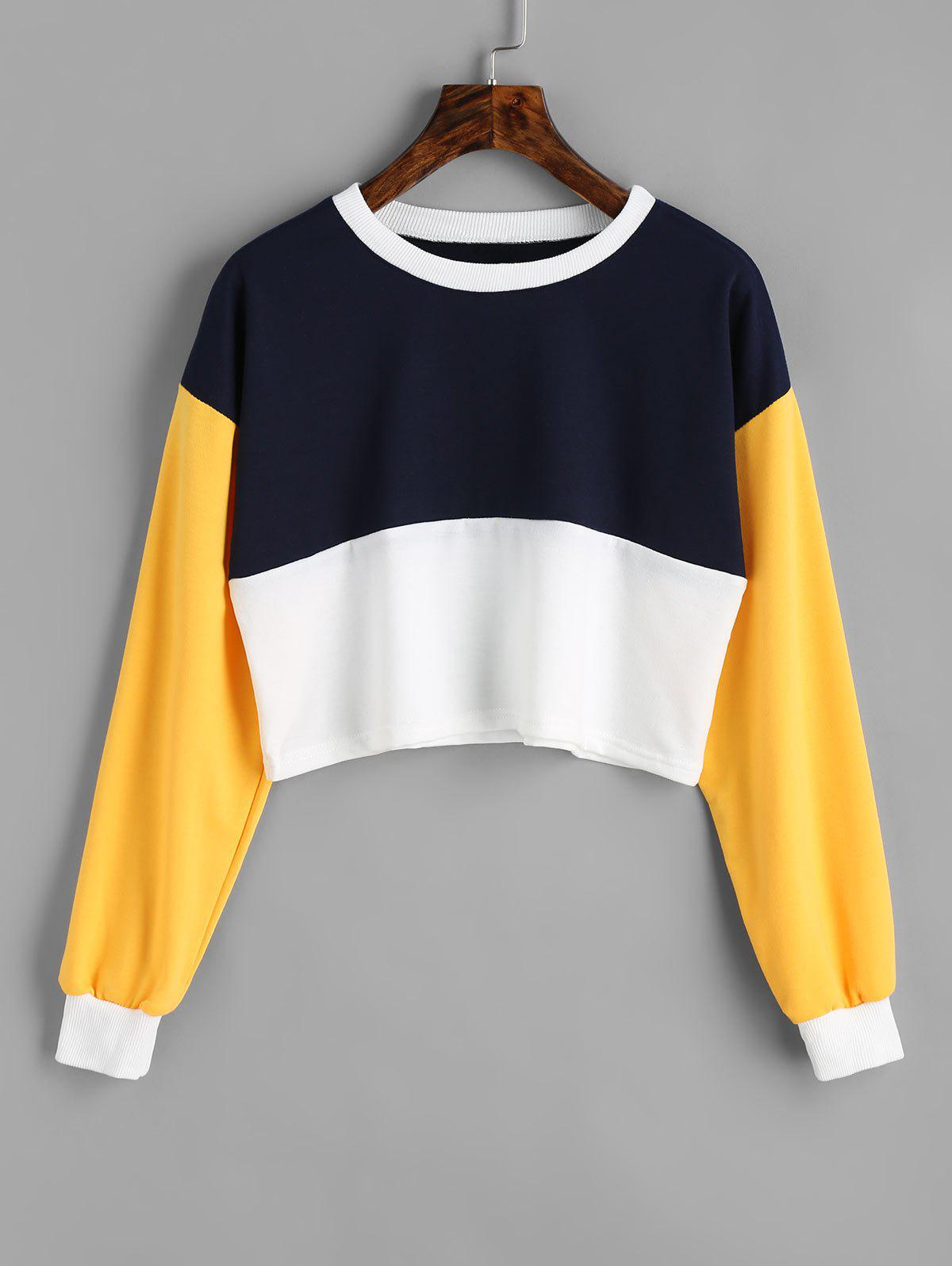 Contrast Cropped Sweatshirt - PURPLISHBLUE / WHITE L