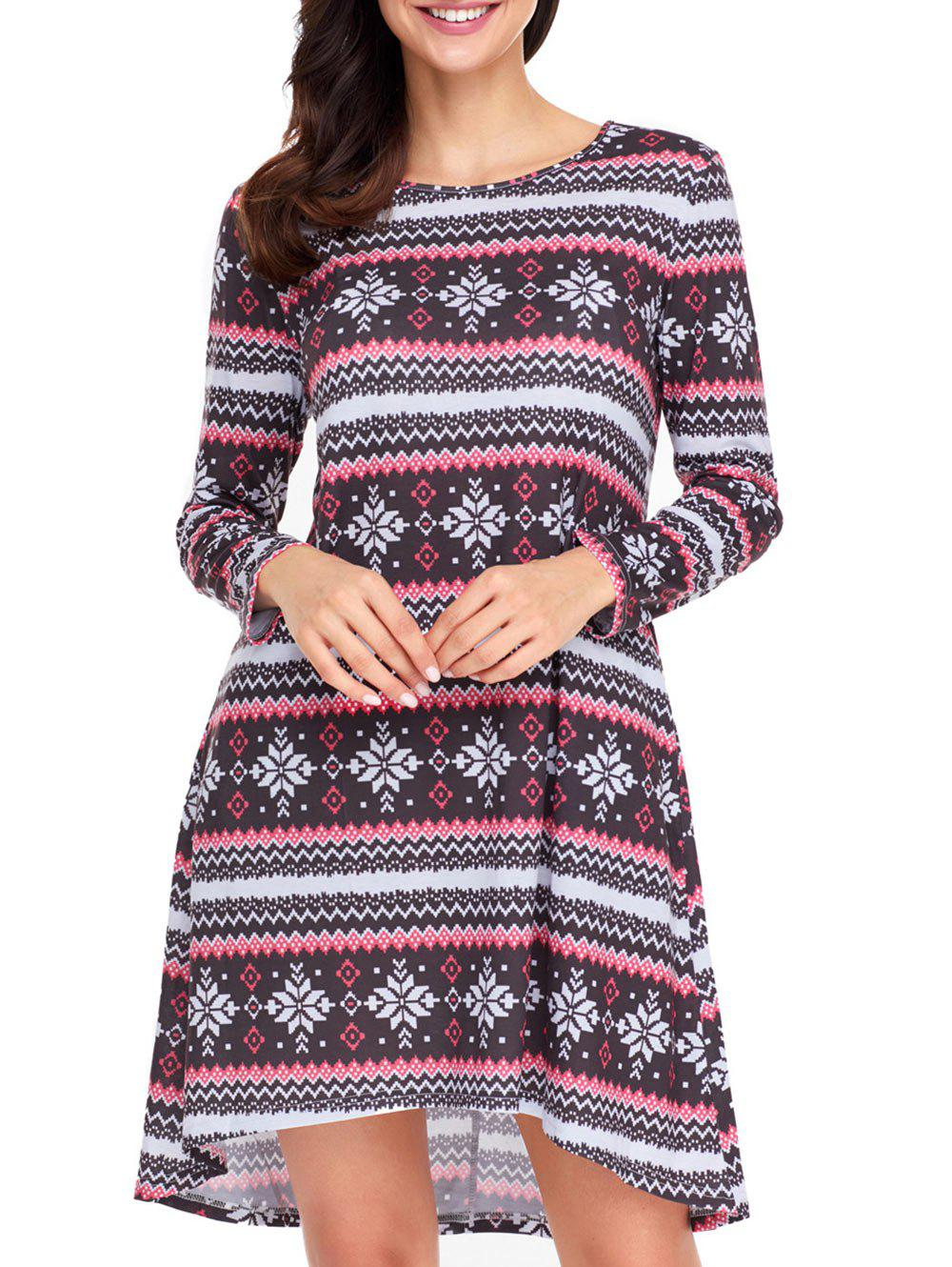 Christmas Snowflake Print Long Sleeve Dress - RED/BLACK M