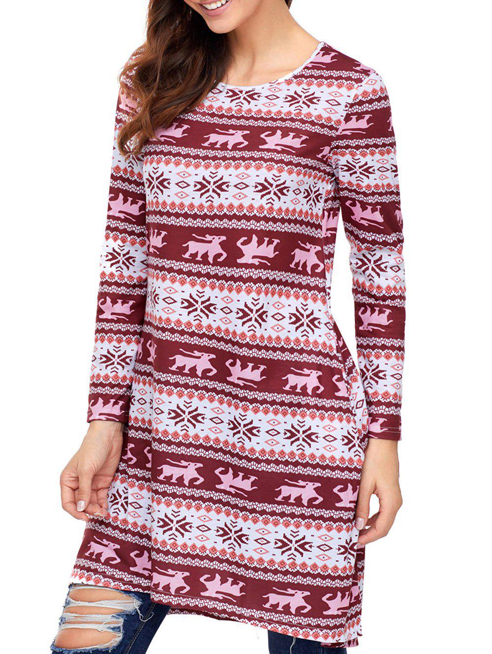 Christmas Snowflake Print Long Sleeve Dress - RED S