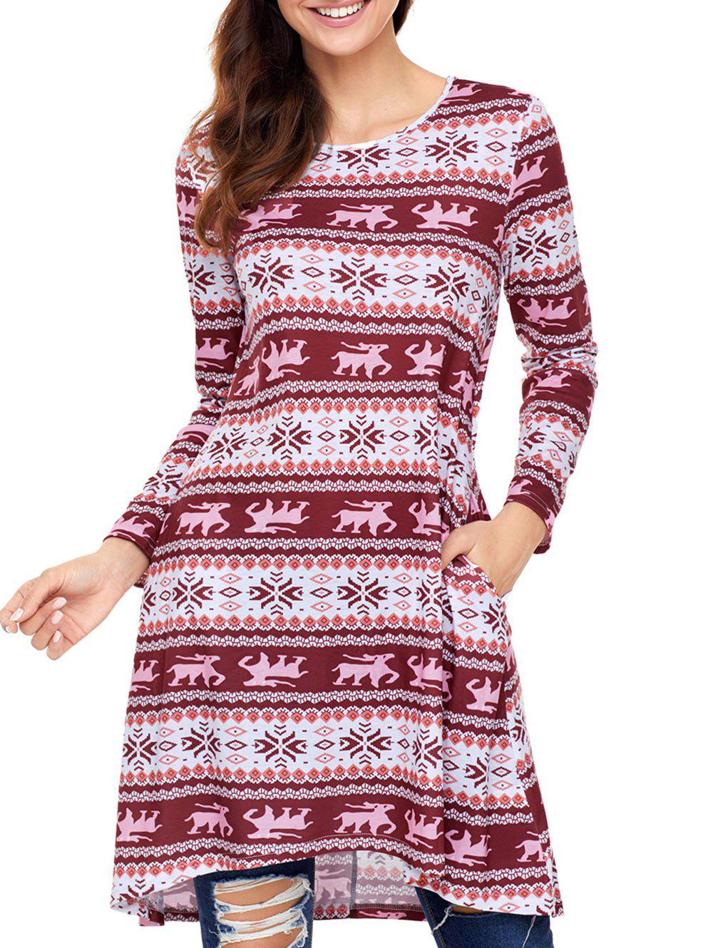 Christmas Snowflake Print Long Sleeve Dress - RED L