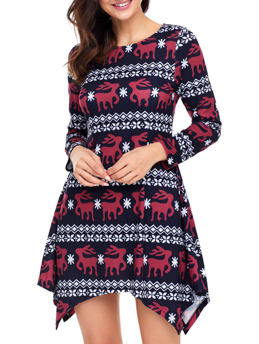 Christmas Deer Print Long Sleeve Asymmetric Dress - BLACK S