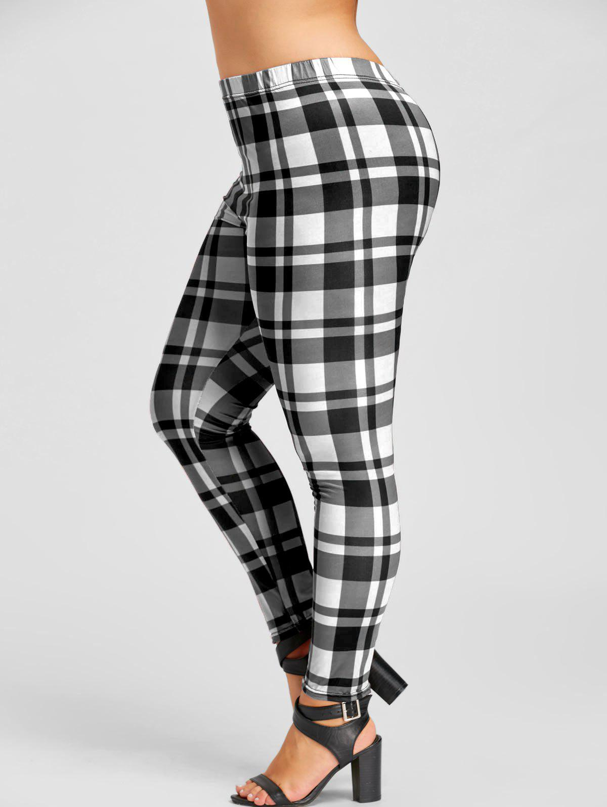 Plus Size Plaid Fitted Leggings - WHITE/BLACK 4XL