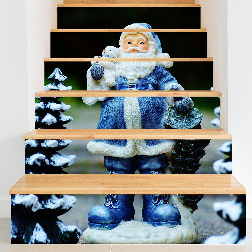 Blue Santa Claus Pattern DIY Stair Stickers santa claus walking in the snow pattern stair stickers