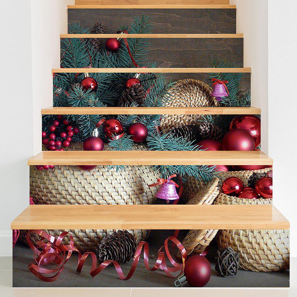 Christmas Pine Nut Color Ball Print Decorative Stair Stickers - COLORFUL 100*18CM*6PCS