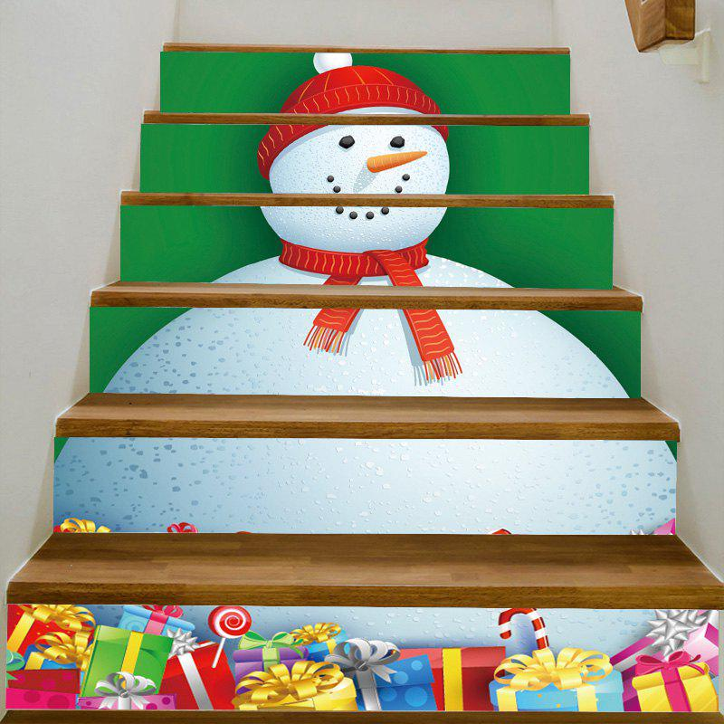 Christmas Fat Snowman with Gifts Pattern Home Ornament Stair Stickers - COLORFUL 100*18CM*6PCS