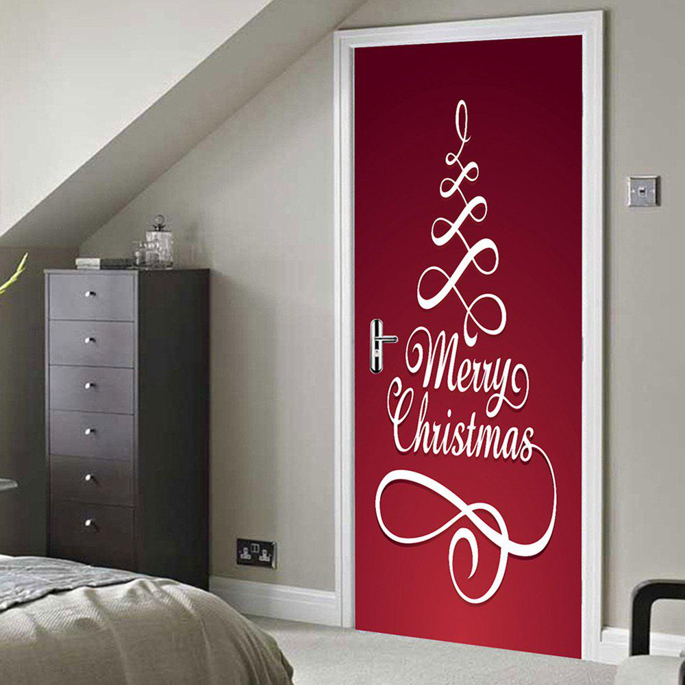 Merry Christmas Pattern Door Stickers   RED 38.5*200CM*2PCS