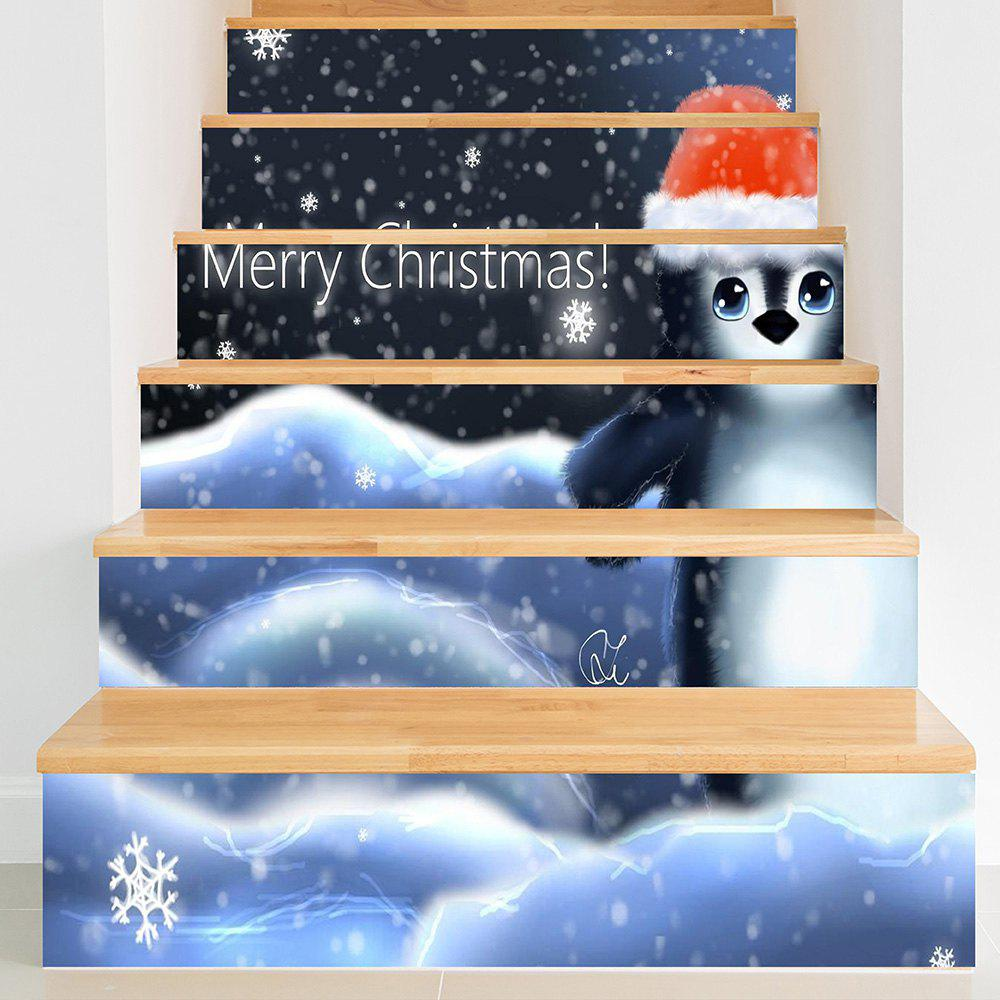 Christmas Penguin Print Pattern Stair Stickers - COLORFUL 100*18CM*6PCS