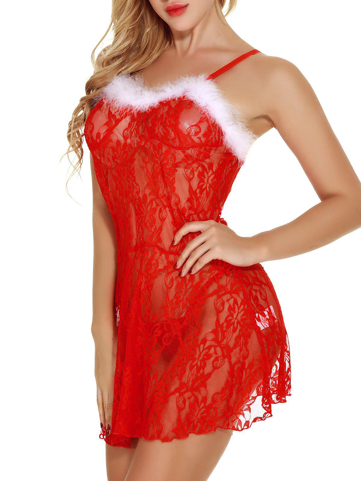 Christmas Sheer Lace Babydoll Dress - RED XL