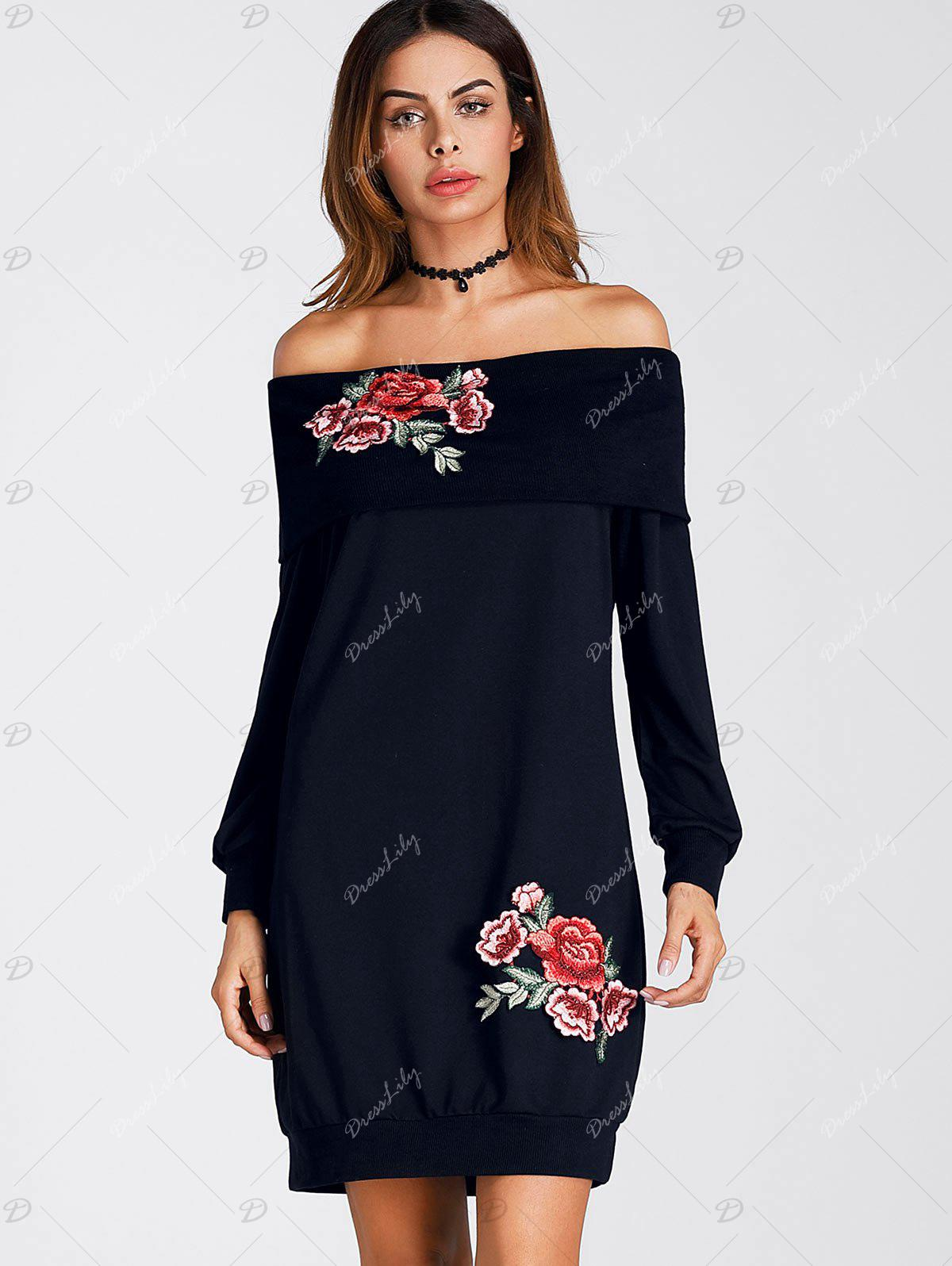Floral Embroidered Off The Shoulder Mini Sweatshirt Dress - CADETBLUE M