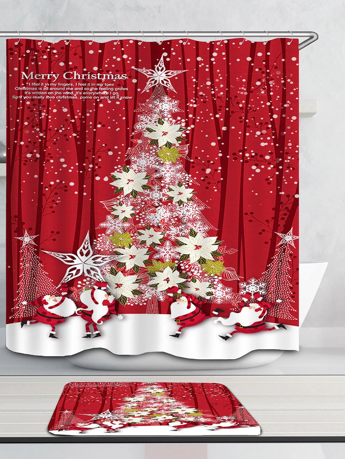 Flower Christmas Tree Printed Waterproof Shower Curtain - RED W71 INCH * L79 INCH
