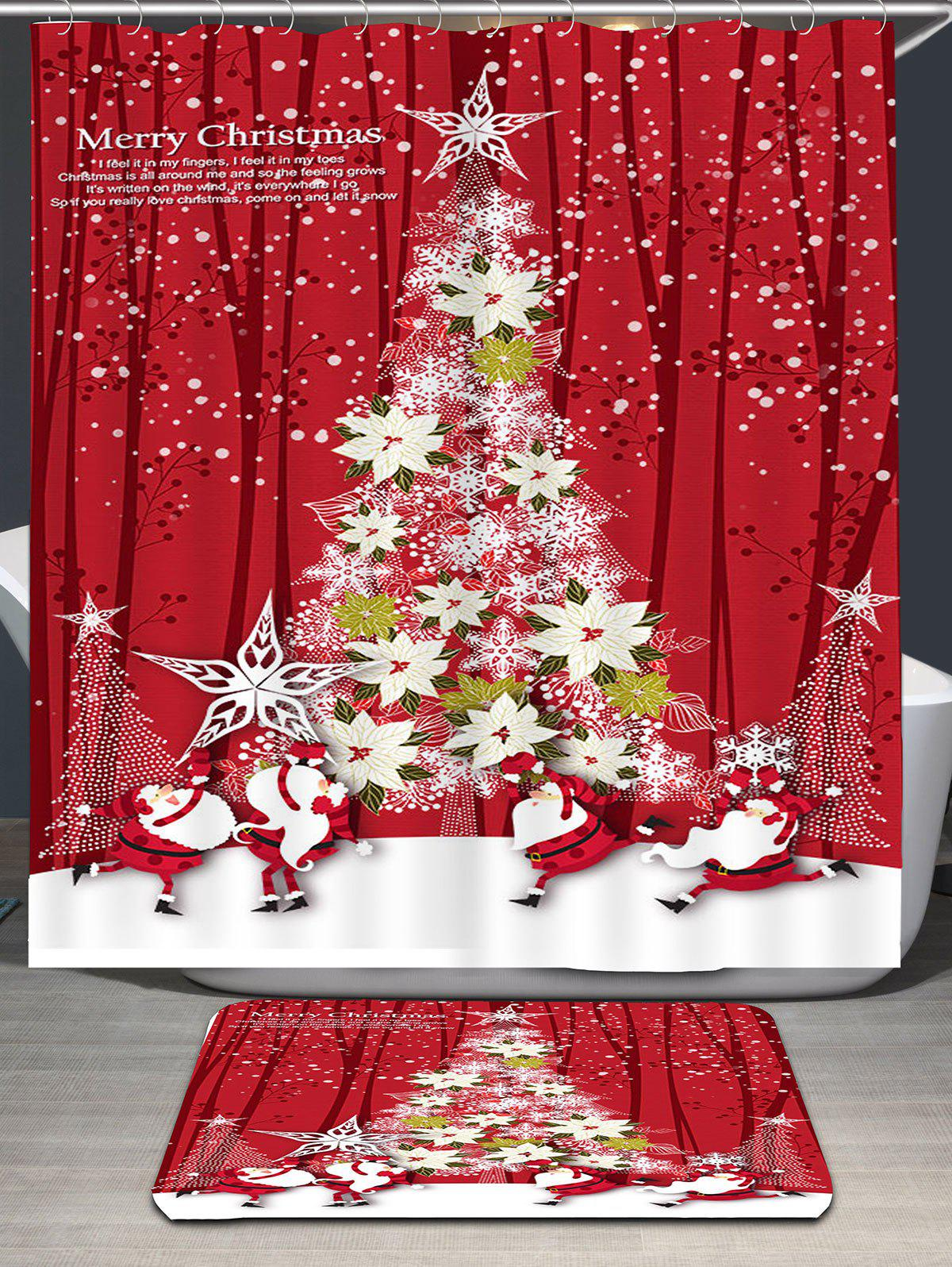 Flower Christmas Tree Printed Waterproof Shower Curtain - RED W71 INCH * L71 INCH